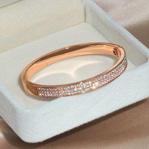 3 Row Diamond Crystal Bangle Bracelet